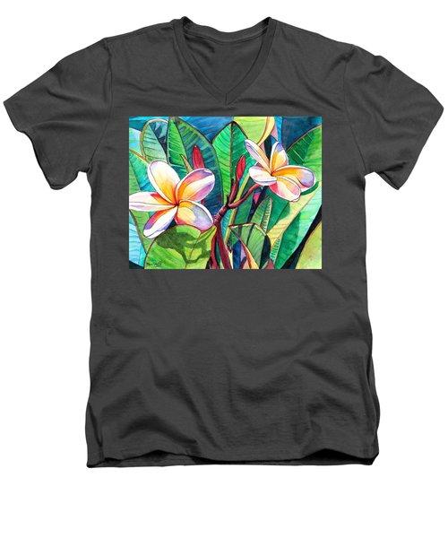 Plumeria Garden Men's V-Neck T-Shirt by Marionette Taboniar