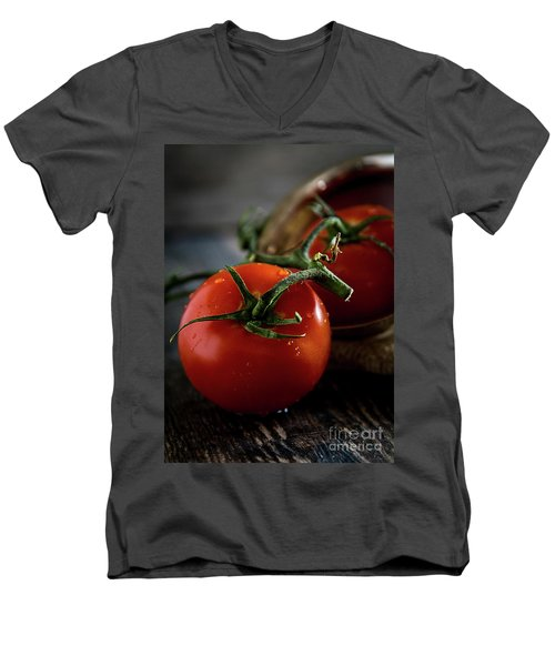 Plump Red Tomatoes Men's V-Neck T-Shirt by Deborah Klubertanz