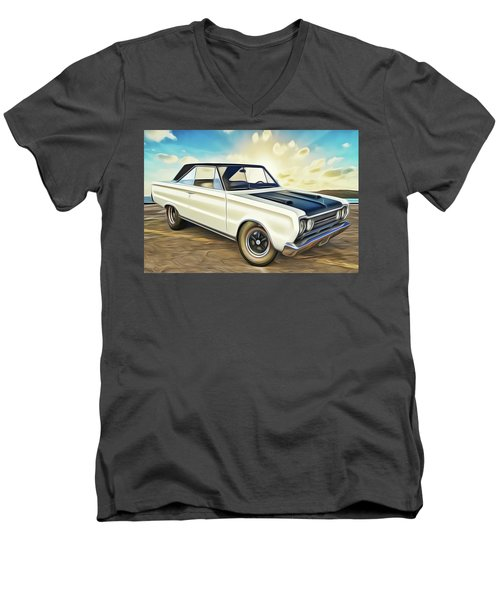 Men's V-Neck T-Shirt featuring the painting Plymouth by Harry Warrick