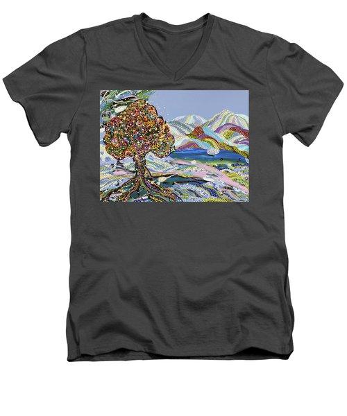 Poet's Lake Men's V-Neck T-Shirt by Erika Pochybova