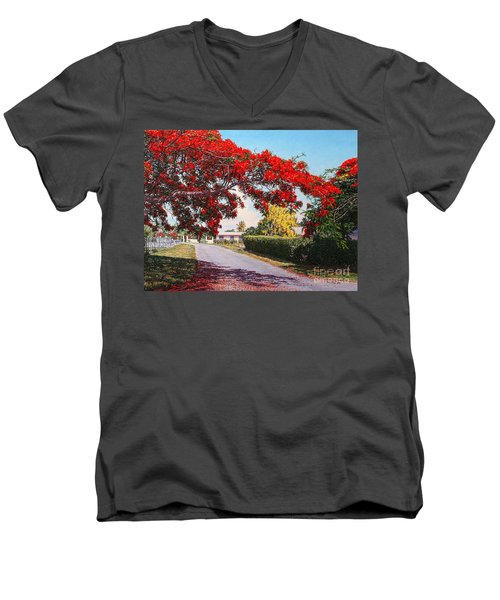 Poinciana Shadows Men's V-Neck T-Shirt