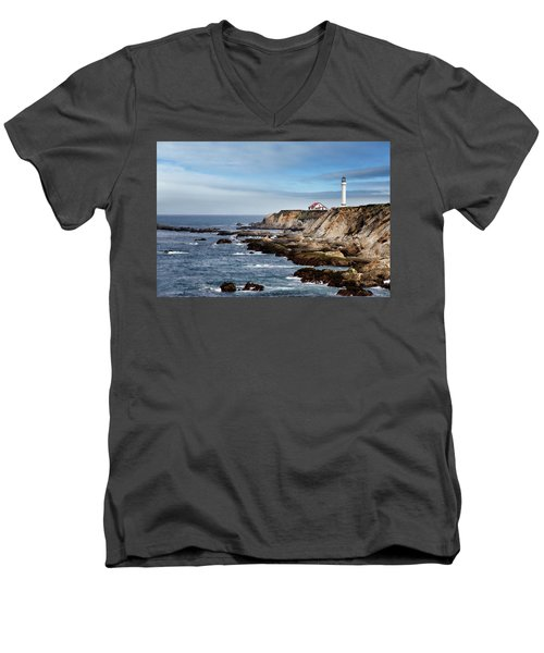 Point Arena Light Men's V-Neck T-Shirt by Lana Trussell
