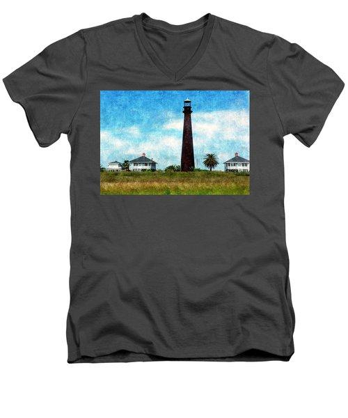Point Bolivar Lighthouse 1872 Men's V-Neck T-Shirt by Karl Reid