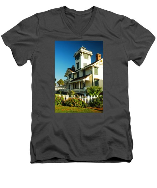 Point Fermin Lighthouse Men's V-Neck T-Shirt by James Kirkikis
