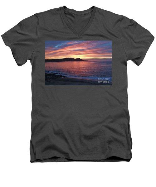 Point Lobos Red Sunset Men's V-Neck T-Shirt