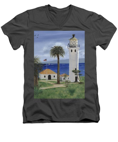 Point Vicente Lighthouse Men's V-Neck T-Shirt by Jamie Frier