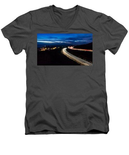 Point Vincente Light Trails Men's V-Neck T-Shirt by Ed Clark