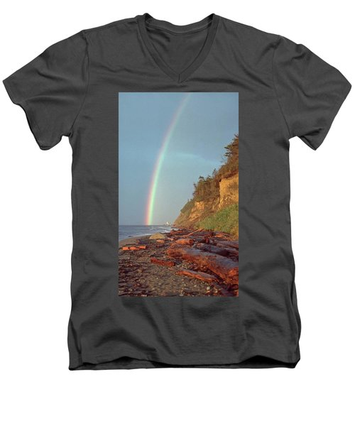 Men's V-Neck T-Shirt featuring the photograph Point Wilson by Laurie Stewart