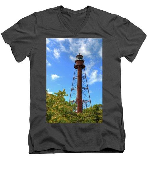 Men's V-Neck T-Shirt featuring the digital art Point Ybel Lighthouse by Sharon Batdorf