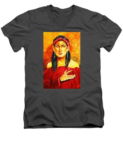 Men's V-Neck T-Shirt featuring the painting Poised In Scarlet Garment by Al Brown