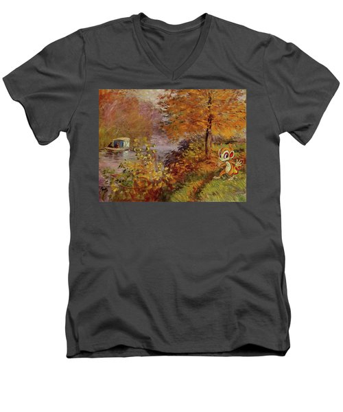 Men's V-Neck T-Shirt featuring the digital art Pokemonet by Greg Sharpe