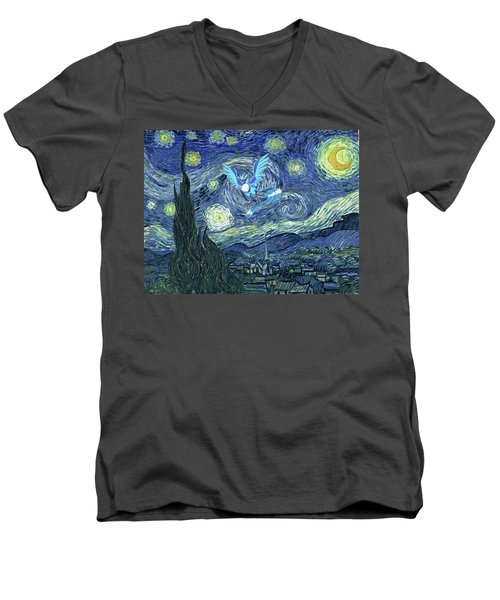 Men's V-Neck T-Shirt featuring the digital art Pokevangogh Starry Night by Greg Sharpe