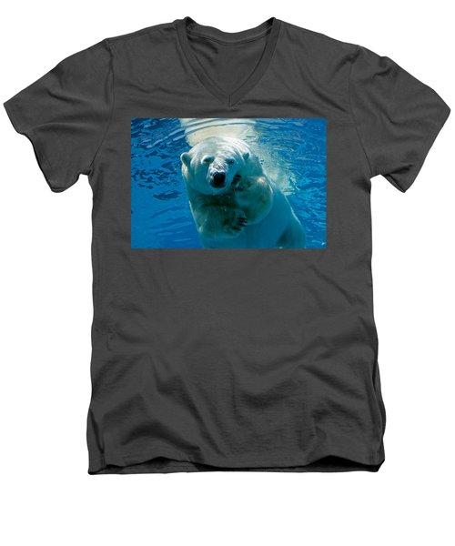 Men's V-Neck T-Shirt featuring the photograph Polar Bear Contemplating Dinner by John Haldane