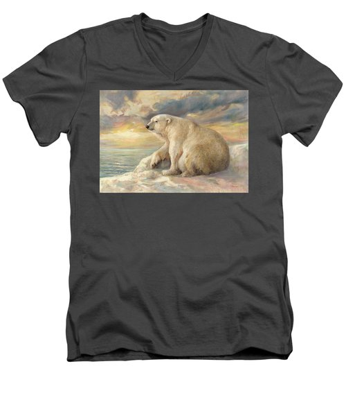 Polar Bear Rests On The Ice - Arctic Alaska Men's V-Neck T-Shirt