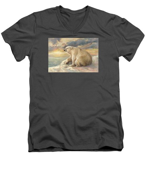 Polar Bear Rests On The Ice - Arctic Alaska Men's V-Neck T-Shirt