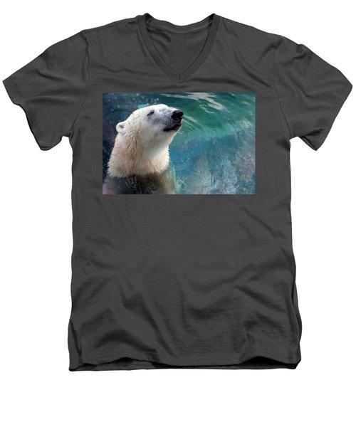 Polar Bear Up Close Men's V-Neck T-Shirt