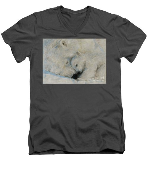 Men's V-Neck T-Shirt featuring the drawing Polar Snuggle by Meagan  Visser