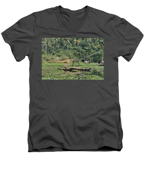 Men's V-Neck T-Shirt featuring the photograph Pole Position by Marion Galt