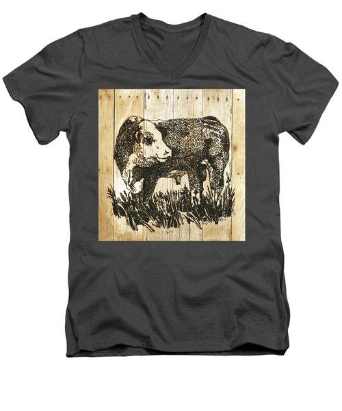 Polled Hereford Bull 11 Men's V-Neck T-Shirt by Larry Campbell