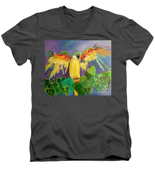 Polly Wants More Than A Cracker Men's V-Neck T-Shirt by Rosemary Aubut