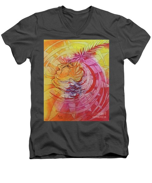 Men's V-Neck T-Shirt featuring the drawing Polynesian Warrior by Marat Essex