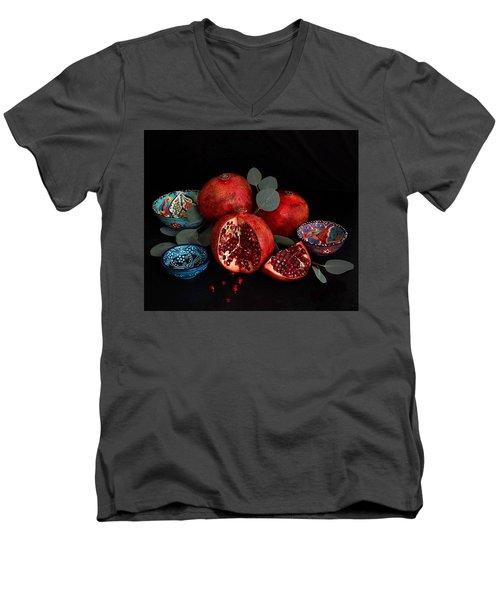 Pomegranate Power Men's V-Neck T-Shirt