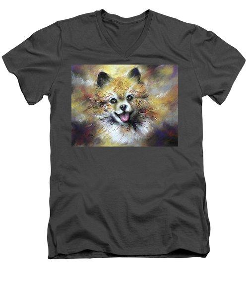 Pomeranian Men's V-Neck T-Shirt by Patricia Lintner