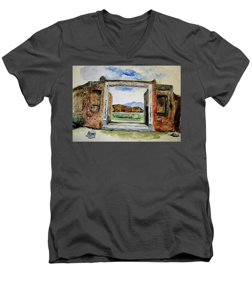 Pompeii Doorway Men's V-Neck T-Shirt by Clyde J Kell