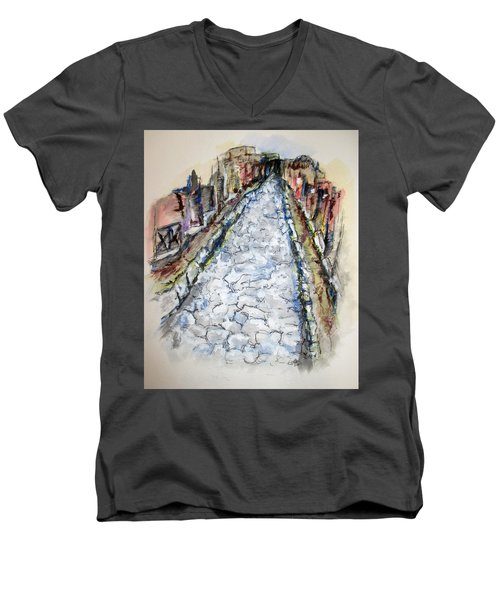 Pompeii Road Men's V-Neck T-Shirt by Clyde J Kell