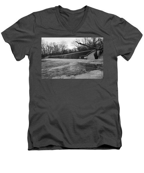 Falling Water On The Pompton Spillway In Winter Men's V-Neck T-Shirt