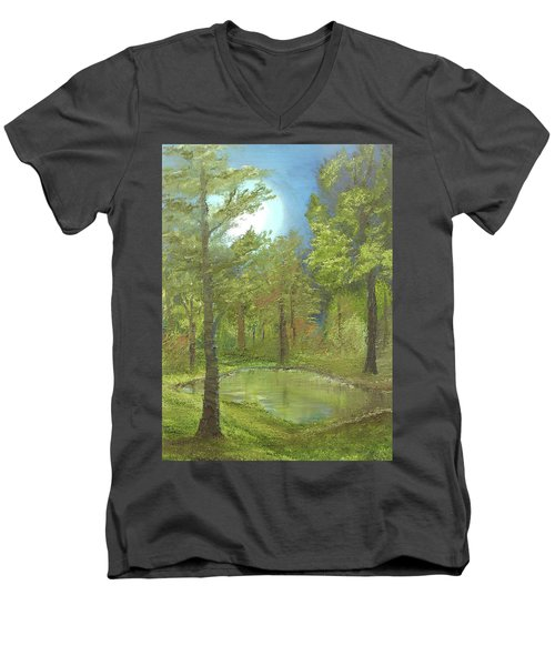 Pond Men's V-Neck T-Shirt by Angela Stout