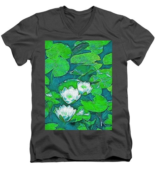Men's V-Neck T-Shirt featuring the photograph Pond Lily 2 by Pamela Cooper