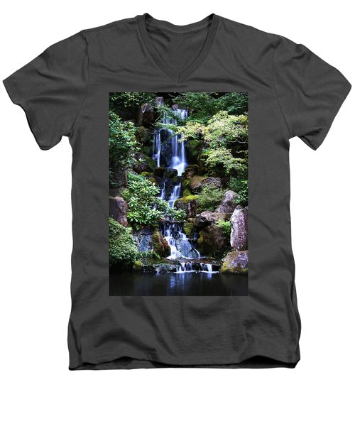 Pond Waterfall Men's V-Neck T-Shirt