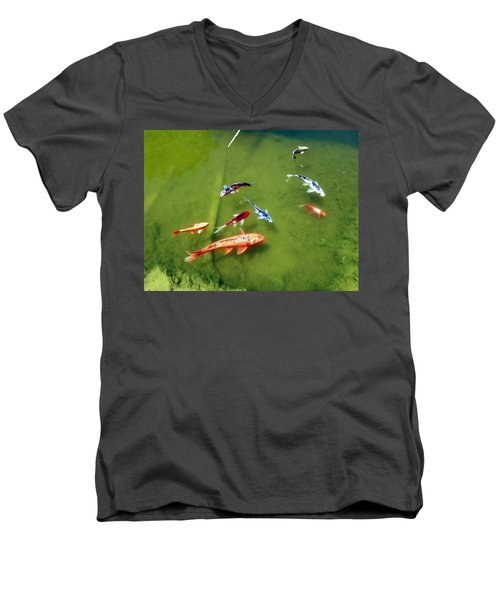 Pond With Koi Fish Men's V-Neck T-Shirt by Joseph Frank Baraba