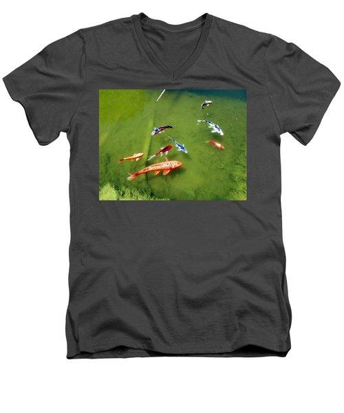 Pond With Koi Fish Men's V-Neck T-Shirt
