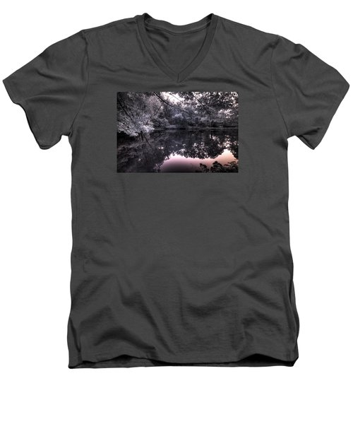 Men's V-Neck T-Shirt featuring the photograph Pondside Dusk by William Fields