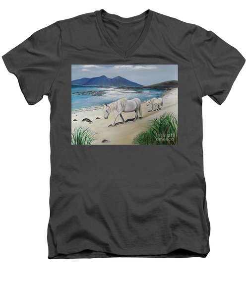 Ponies Of Muck- Painting Men's V-Neck T-Shirt by Veronica Rickard