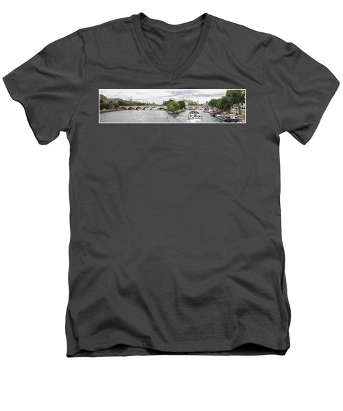 Pont Neuf Panorama Men's V-Neck T-Shirt by Kai Saarto