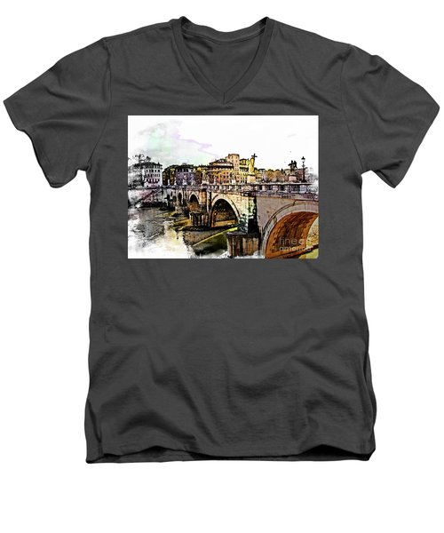 Ponte San Angelo, Rome, Italy Men's V-Neck T-Shirt