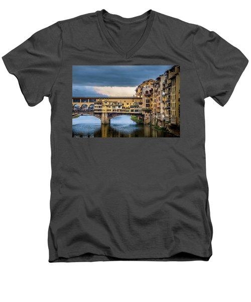 Men's V-Neck T-Shirt featuring the photograph Ponte Vecchio E Gabbiani by Sonny Marcyan