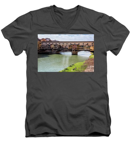 Men's V-Neck T-Shirt featuring the photograph Ponte Vecchio Florence Italy II by Joan Carroll