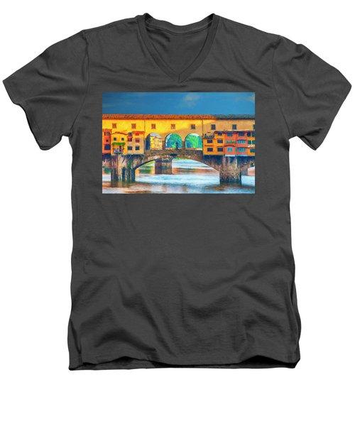 Ponte Vecchio Impression Men's V-Neck T-Shirt