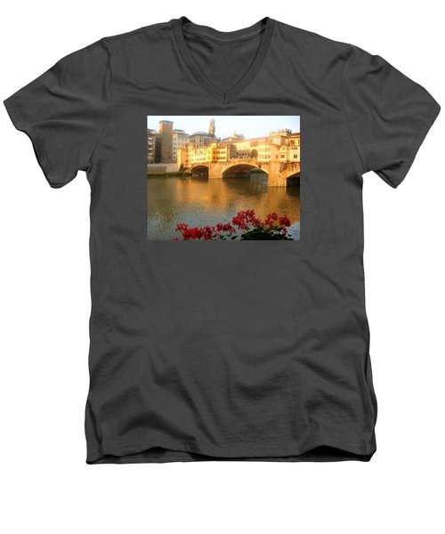 Ponte Vecchio In Florence Men's V-Neck T-Shirt by Lisa Boyd