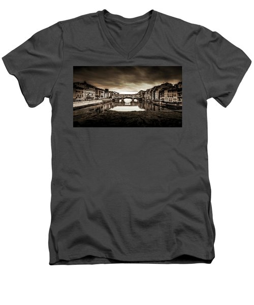 Men's V-Neck T-Shirt featuring the photograph Ponte Vecchio In Sepia by Sonny Marcyan