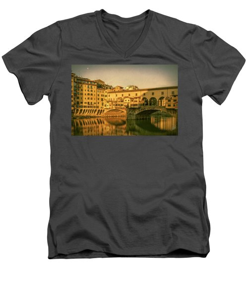 Men's V-Neck T-Shirt featuring the photograph Ponte Vecchio Morning Florence Italy by Joan Carroll