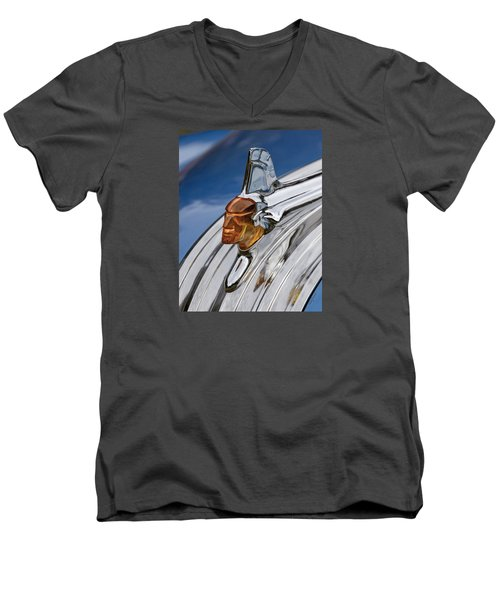 Men's V-Neck T-Shirt featuring the photograph 1952 Pontiac Catalina Chieftan Lighted Hood Ornament by Betty Denise