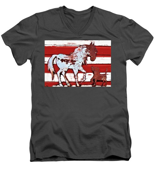 Pony And Pup Men's V-Neck T-Shirt by Larry Campbell