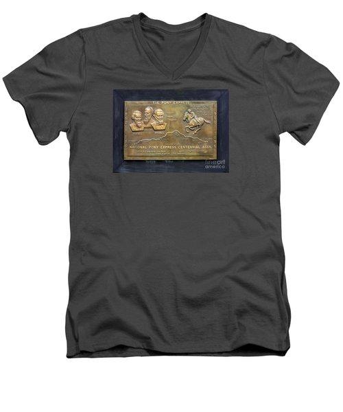 Pony Express Brass Plaque Men's V-Neck T-Shirt