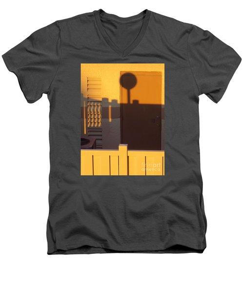 Pool House Shadow At Sunrise. Men's V-Neck T-Shirt