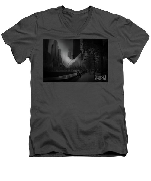 Men's V-Neck T-Shirt featuring the photograph Pool Station, Bw by Paul Cammarata